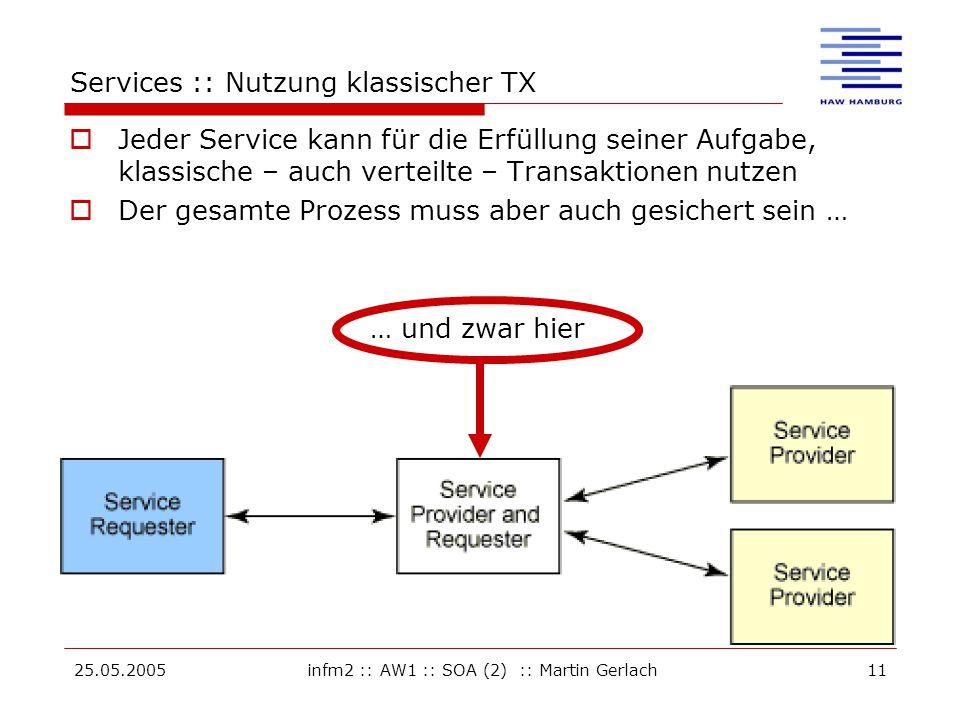 25.05.2005infm2 :: AW1 :: SOA (2) :: Martin Gerlach11 … und zwar hier Services :: Nutzung klassischer TX  Jeder Service kann für die Erfüllung seiner Aufgabe, klassische – auch verteilte – Transaktionen nutzen  Der gesamte Prozess muss aber auch gesichert sein …