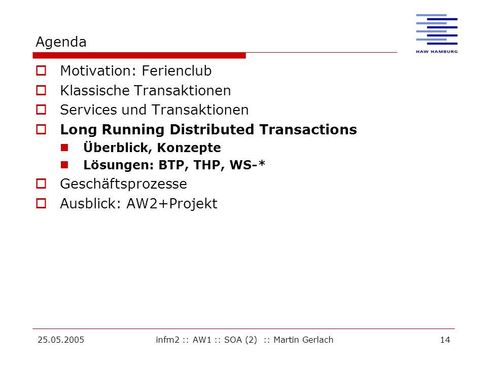 25.05.2005infm2 :: AW1 :: SOA (2) :: Martin Gerlach14 Agenda  Motivation: Ferienclub  Klassische Transaktionen  Services und Transaktionen  Long Running Distributed Transactions Überblick, Konzepte Lösungen: BTP, THP, WS-*  Geschäftsprozesse  Ausblick: AW2+Projekt