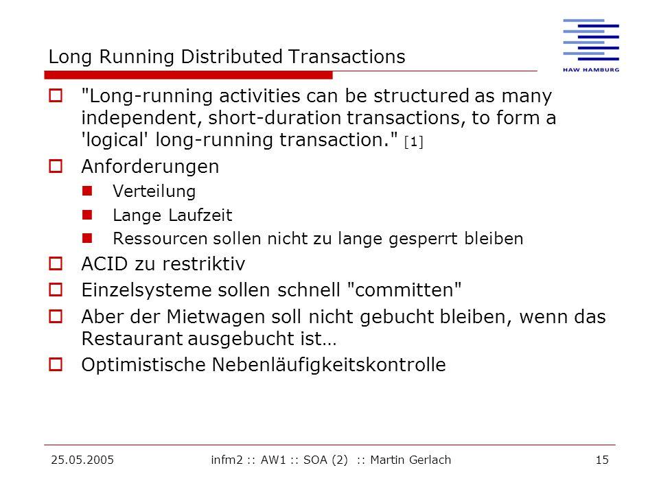 25.05.2005infm2 :: AW1 :: SOA (2) :: Martin Gerlach15 Long Running Distributed Transactions 