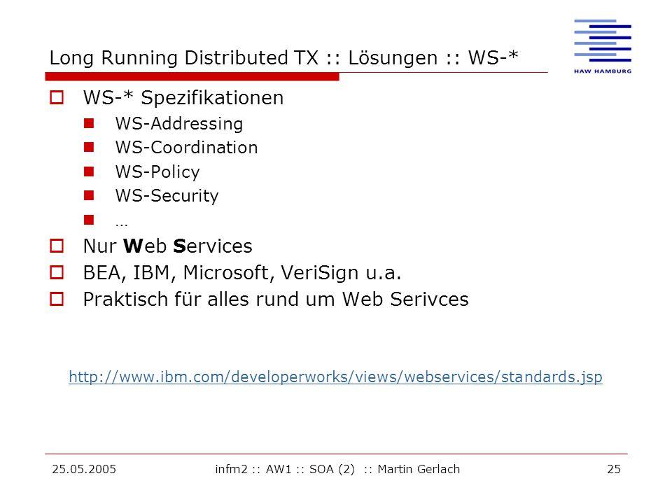 25.05.2005infm2 :: AW1 :: SOA (2) :: Martin Gerlach25 Long Running Distributed TX :: Lösungen :: WS-*  WS-* Spezifikationen WS-Addressing WS-Coordina
