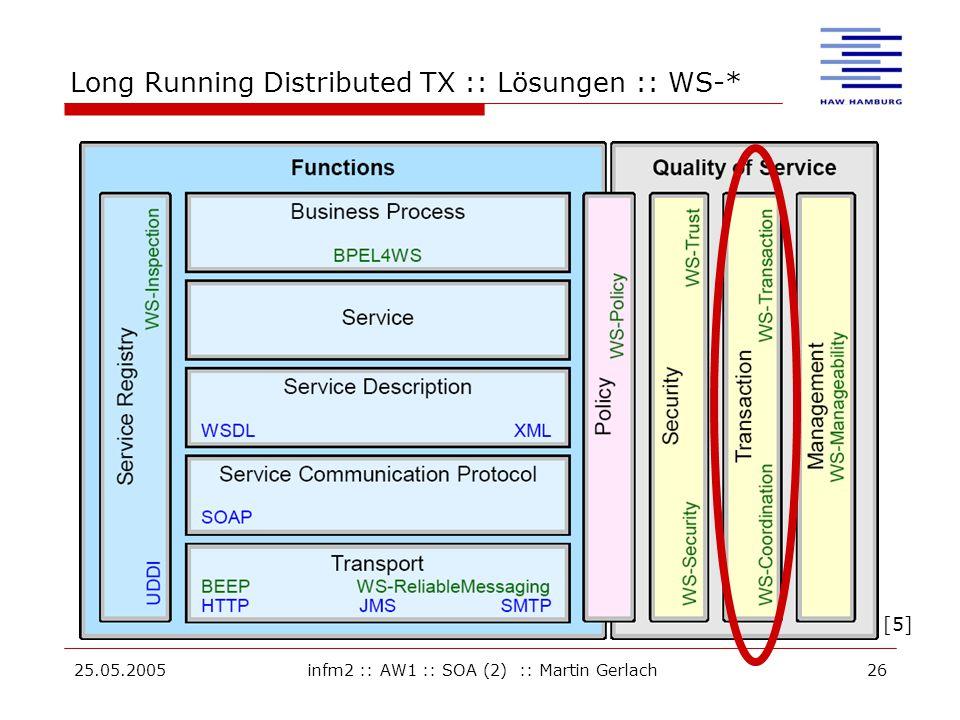 25.05.2005infm2 :: AW1 :: SOA (2) :: Martin Gerlach26 Long Running Distributed TX :: Lösungen :: WS-* [5]