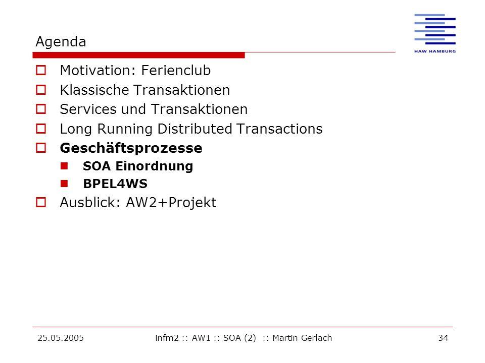 25.05.2005infm2 :: AW1 :: SOA (2) :: Martin Gerlach34 Agenda  Motivation: Ferienclub  Klassische Transaktionen  Services und Transaktionen  Long Running Distributed Transactions  Geschäftsprozesse SOA Einordnung BPEL4WS  Ausblick: AW2+Projekt
