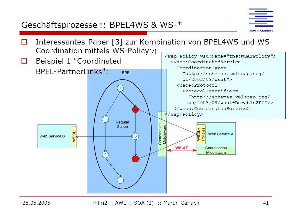 25.05.2005infm2 :: AW1 :: SOA (2) :: Martin Gerlach41 Geschäftsprozesse :: BPEL4WS & WS-*  Interessantes Paper [3] zur Kombination von BPEL4WS und WS- Coordination mittels WS-Policy [7]  Beispiel 1 Coordinated BPEL-PartnerLinks : <wsce:CoordinatedService CoordinationType= http://schemas.xmlsoap.org/ ws/2003/09/wsat > <wsce:Protocol ProtocolIdentifier= http://schemas.xmlsoap.org/ ws/2003/09/wsat#Durable2PC />