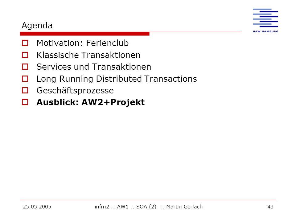 25.05.2005infm2 :: AW1 :: SOA (2) :: Martin Gerlach43 Agenda  Motivation: Ferienclub  Klassische Transaktionen  Services und Transaktionen  Long Running Distributed Transactions  Geschäftsprozesse  Ausblick: AW2+Projekt