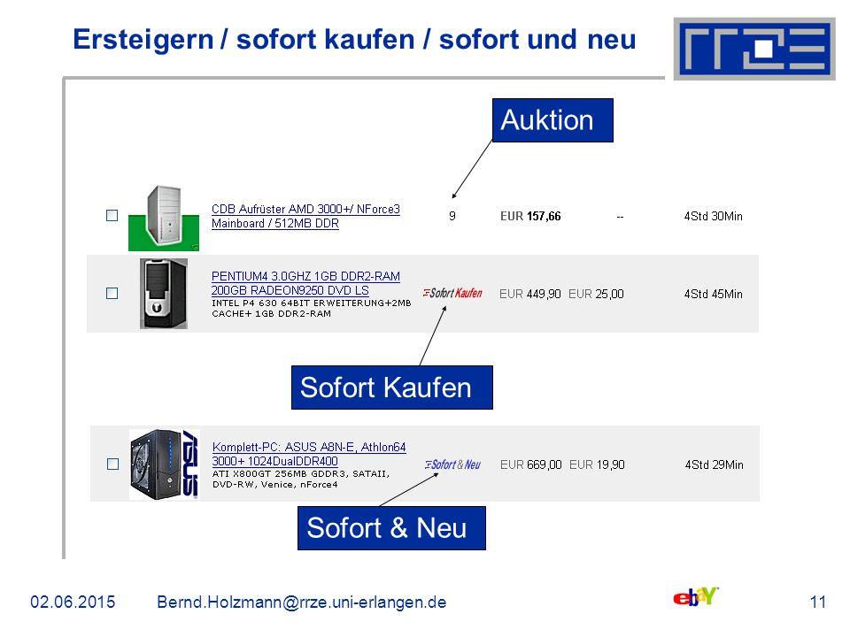 02.06.2015Bernd.Holzmann@rrze.uni-erlangen.de11 Ersteigern / sofort kaufen / sofort und neu Sofort Kaufen Auktion Sofort & Neu