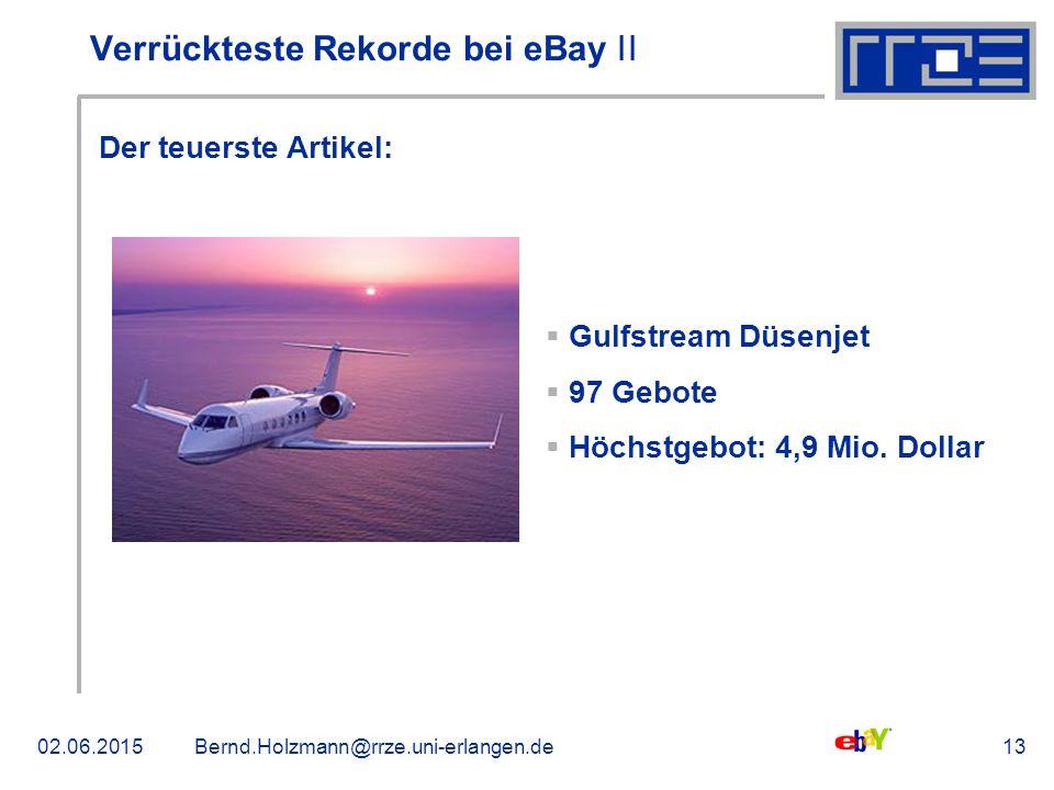 02.06.2015Bernd.Holzmann@rrze.uni-erlangen.de13 Verrückteste Rekorde bei eBay ǀǀ Der teuerste Artikel:  Gulfstream Düsenjet  97 Gebote  Höchstgebot: 4,9 Mio.