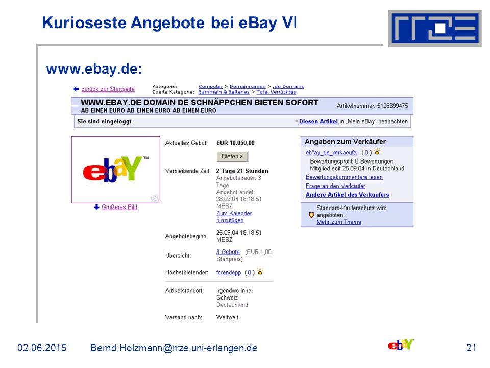 02.06.2015Bernd.Holzmann@rrze.uni-erlangen.de21 Kurioseste Angebote bei eBay V ǀ www.ebay.de: