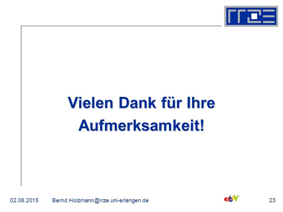 02.06.2015Bernd.Holzmann@rrze.uni-erlangen.de23 Vielen Dank für Ihre Aufmerksamkeit!