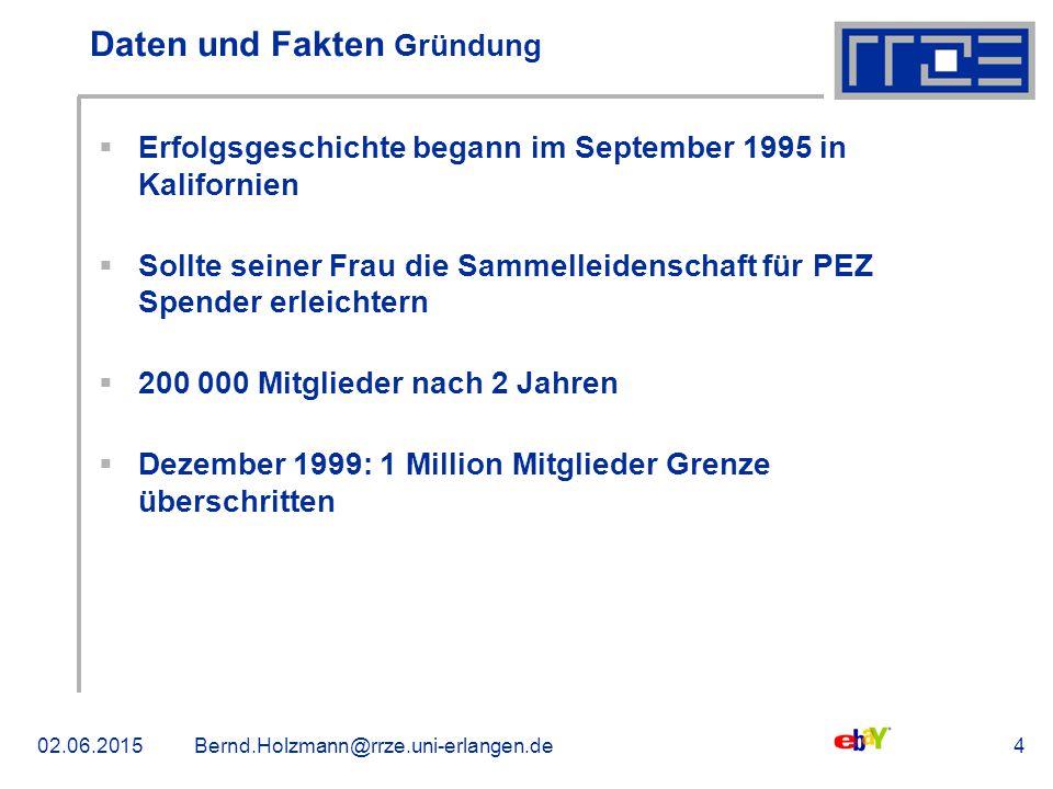 02.06.2015Bernd.Holzmann@rrze.uni-erlangen.de4 Daten und Fakten Gründung  Erfolgsgeschichte begann im September 1995 in Kalifornien  Sollte seiner F