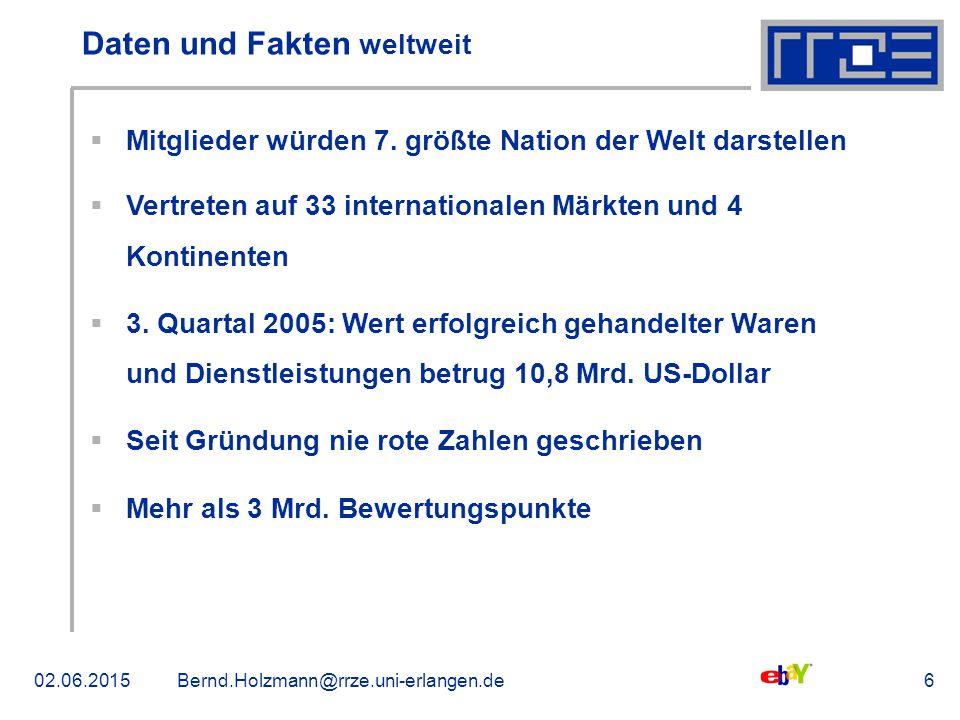 02.06.2015Bernd.Holzmann@rrze.uni-erlangen.de6 Daten und Fakten weltweit  Mitglieder würden 7. größte Nation der Welt darstellen  Vertreten auf 33 i
