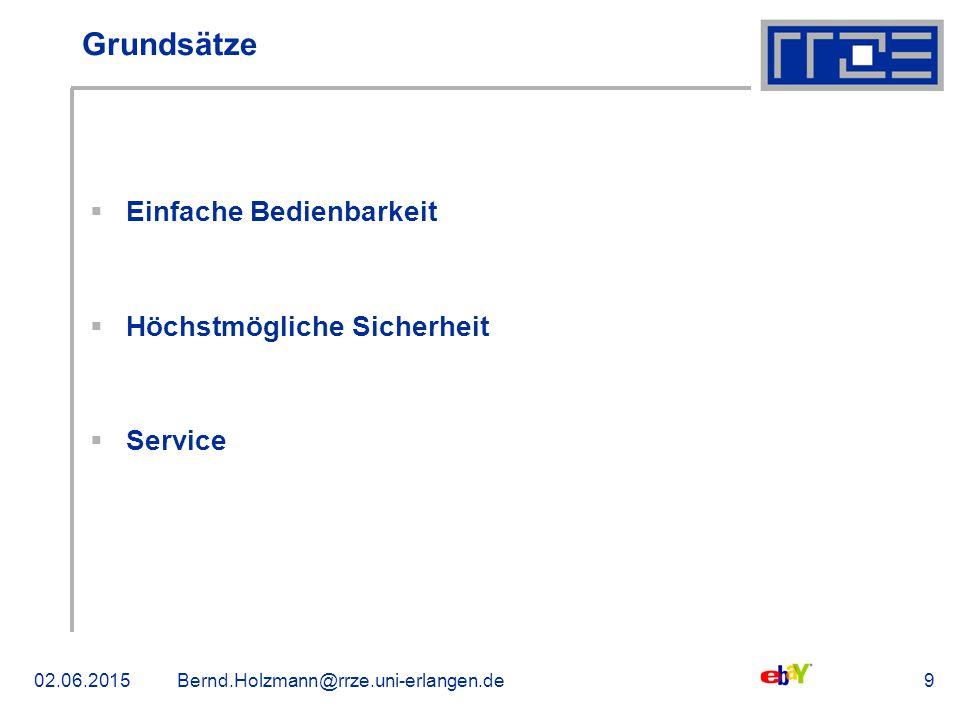 02.06.2015Bernd.Holzmann@rrze.uni-erlangen.de9 Grundsätze  Einfache Bedienbarkeit  Höchstmögliche Sicherheit  Service