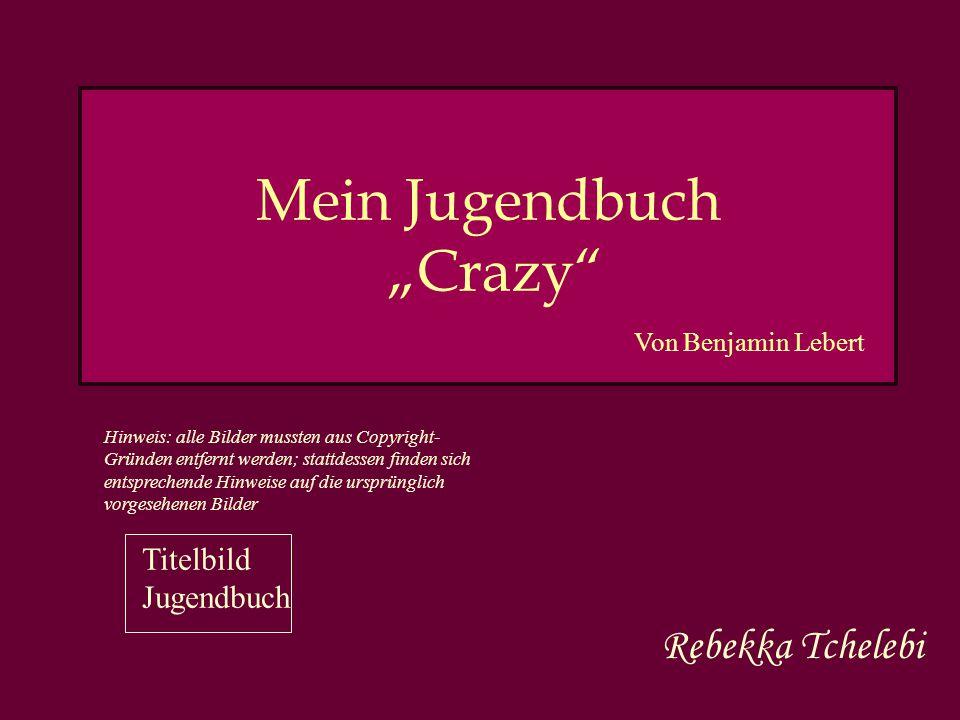 """Mein Jugendbuch """"Crazy Rebekka Tchelebi Von Benjamin Lebert Hinweis: alle Bilder mussten aus Copyright- Gründen entfernt werden; stattdessen finden sich entsprechende Hinweise auf die ursprünglich vorgesehenen Bilder Titelbild Jugendbuch"""