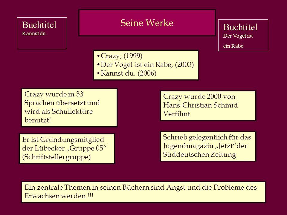 Benjamin Lebert Hat manchmal Fern- und Heimweh Geboren 1982 in Freiburg in Breisgau Fing mit 12 Jahren an zu schreiben Mit 16 beendete der die Schule