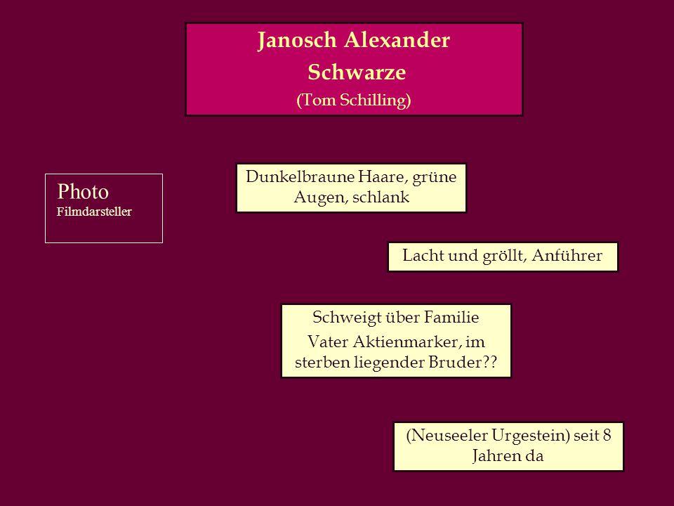 Janosch Alexander Schwarze (Tom Schilling) Dunkelbraune Haare, grüne Augen, schlank Lacht und gröllt, Anführer Schweigt über Familie Vater Aktienmarker, im sterben liegender Bruder?.