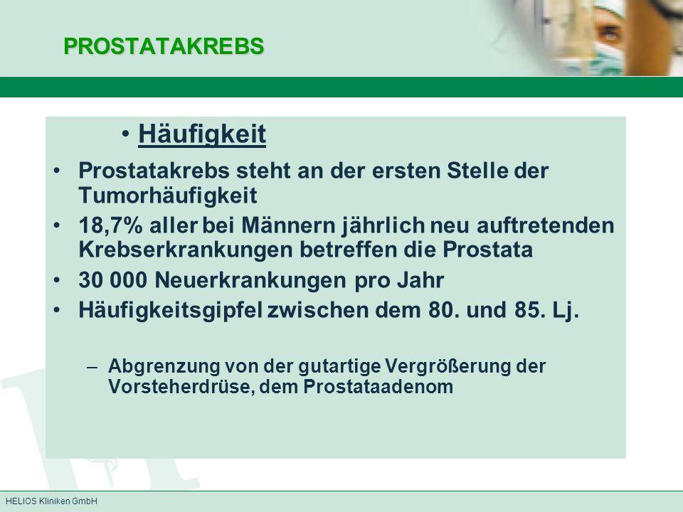 HELIOS Kliniken GmbH PROSTATAKREBS PROSTATAKREBS Häufigkeit Prostatakrebs steht an der ersten Stelle der Tumorhäufigkeit 18,7% aller bei Männern jährl