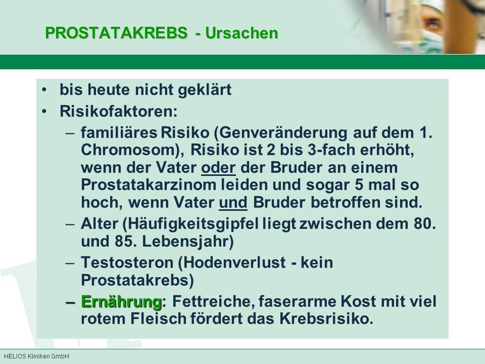 HELIOS Kliniken GmbH PROSTATAKREBS - Ursachen PROSTATAKREBS - Ursachen bis heute nicht geklärt Risikofaktoren: –familiäres Risiko (Genveränderung auf