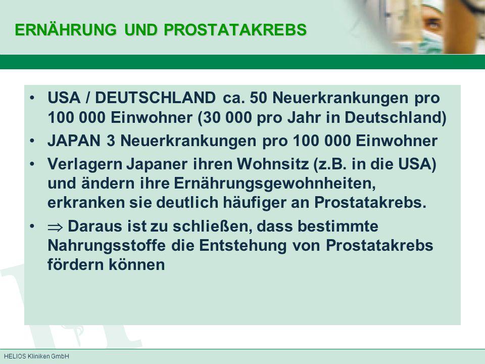 HELIOS Kliniken GmbH ERNÄHRUNG UND PROSTATAKREBS USA / DEUTSCHLAND ca. 50 Neuerkrankungen pro 100 000 Einwohner (30 000 pro Jahr in Deutschland) JAPAN