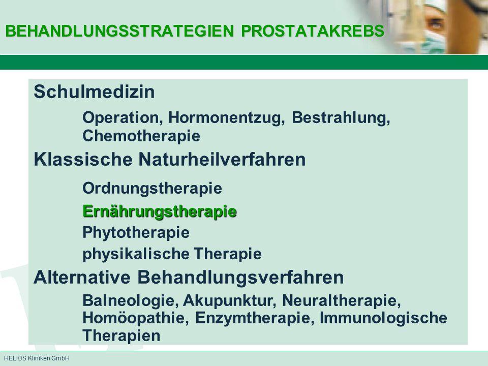 HELIOS Kliniken GmbH BEHANDLUNGSSTRATEGIEN PROSTATAKREBS Schulmedizin  Operation, Hormonentzug, Bestrahlung, Chemotherapie Klassische Naturheilverfah