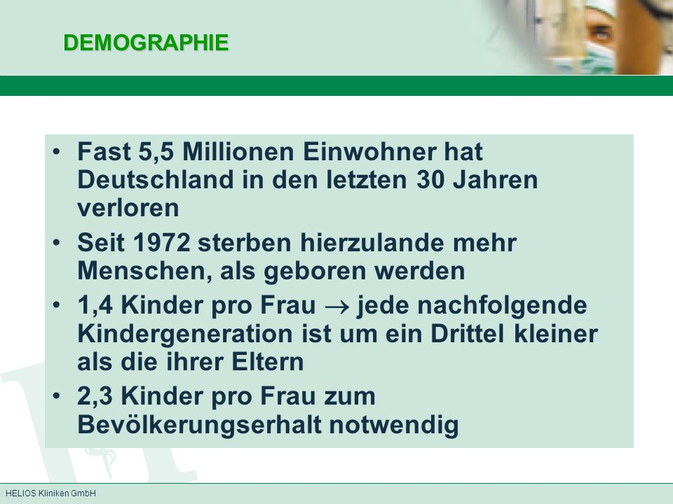 HELIOS Kliniken GmbHDEMOGRAPHIE Fast 5,5 Millionen Einwohner hat Deutschland in den letzten 30 Jahren verloren Seit 1972 sterben hierzulande mehr Mens