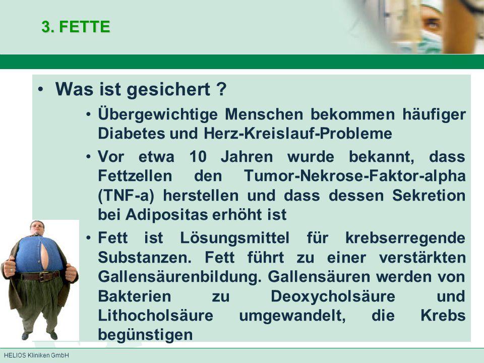 HELIOS Kliniken GmbH 3. FETTE Was ist gesichert ? Übergewichtige Menschen bekommen häufiger Diabetes und Herz-Kreislauf-Probleme Vor etwa 10 Jahren wu
