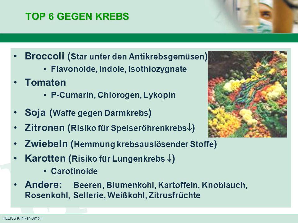 HELIOS Kliniken GmbH TOP 6 GEGEN KREBS Broccoli ( Star unter den Antikrebsgemüsen ) Flavonoide, Indole, Isothiozygnate Tomaten P-Cumarin, Chlorogen, L