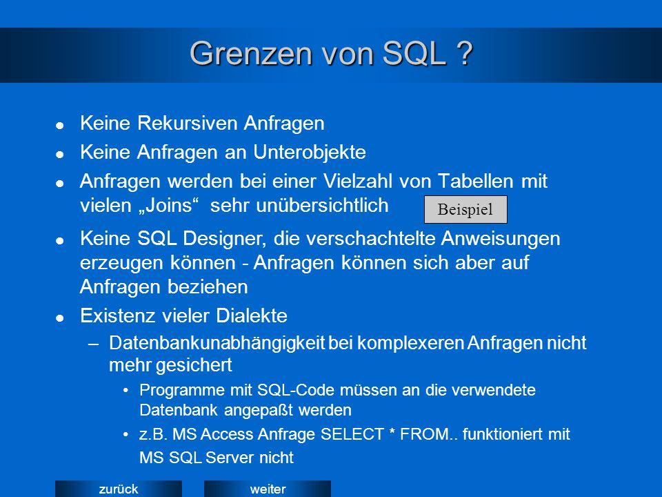 """weiterzurück Grenzen von SQL ? Keine Rekursiven Anfragen Keine Anfragen an Unterobjekte Anfragen werden bei einer Vielzahl von Tabellen mit vielen """"Jo"""
