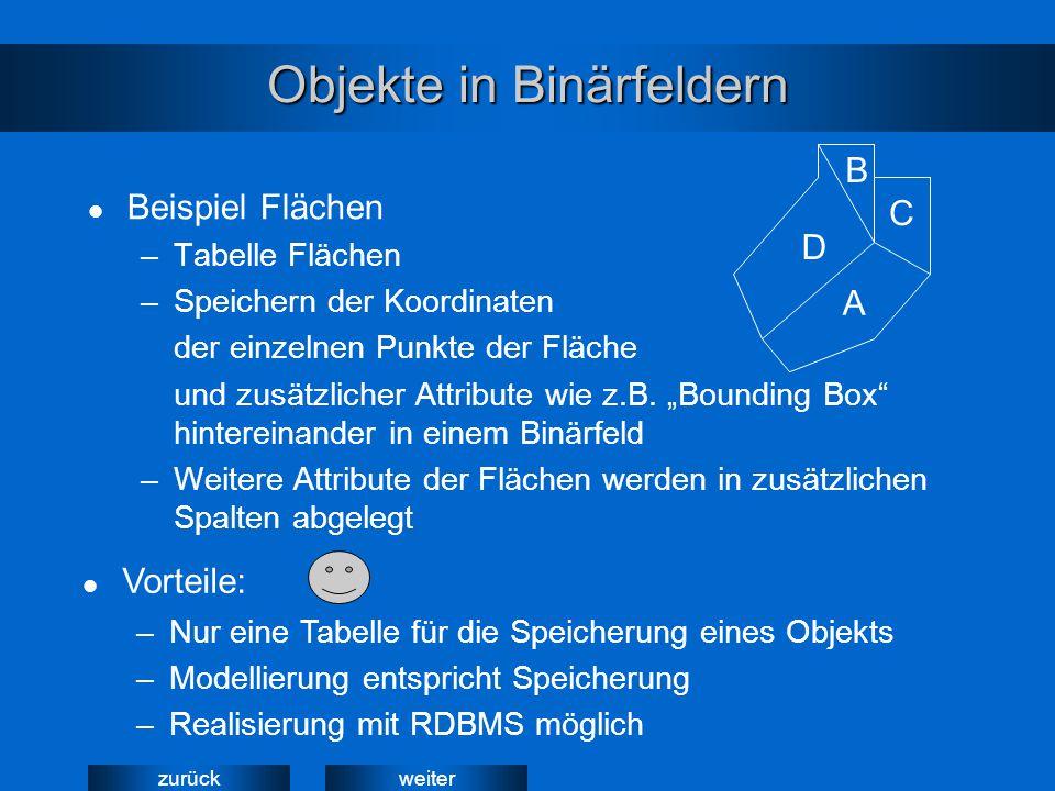 weiterzurück Objekte in Binärfeldern Beispiel Flächen –Tabelle Flächen –Speichern der Koordinaten der einzelnen Punkte der Fläche und zusätzlicher Attribute wie z.B.