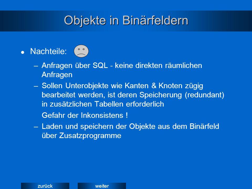 weiterzurück Objekte in Binärfeldern –Anfragen über SQL - keine direkten räumlichen Anfragen –Sollen Unterobjekte wie Kanten & Knoten zügig bearbeitet
