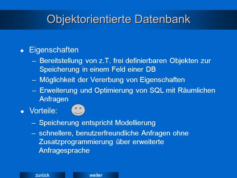 weiterzurück Objektorientierte Datenbank Eigenschaften –Bereitstellung von z.T. frei definierbaren Objekten zur Speicherung in einem Feld einer DB –Mö