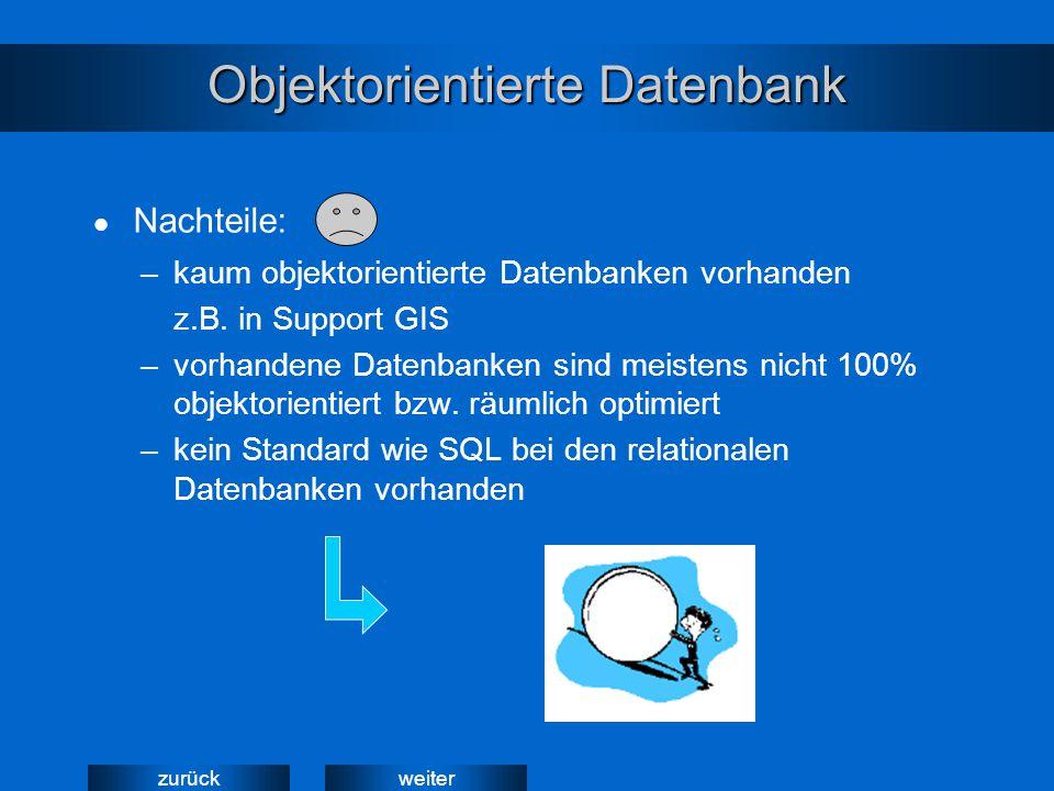 weiterzurück Objektorientierte Datenbank –kaum objektorientierte Datenbanken vorhanden z.B. in Support GIS –vorhandene Datenbanken sind meistens nicht