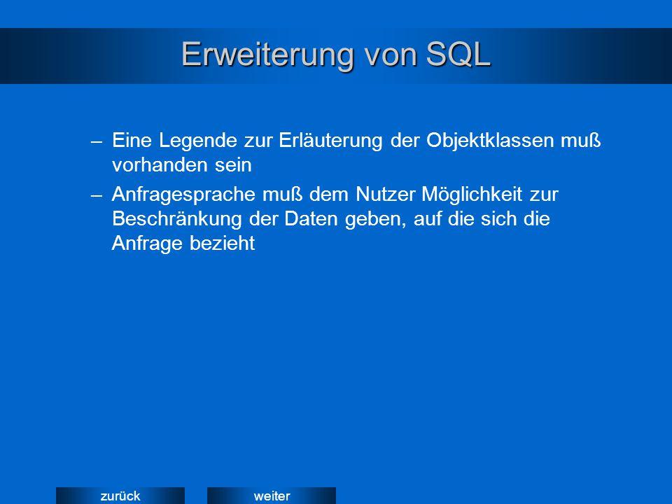weiterzurück Erweiterung von SQL –Eine Legende zur Erläuterung der Objektklassen muß vorhanden sein –Anfragesprache muß dem Nutzer Möglichkeit zur Beschränkung der Daten geben, auf die sich die Anfrage bezieht