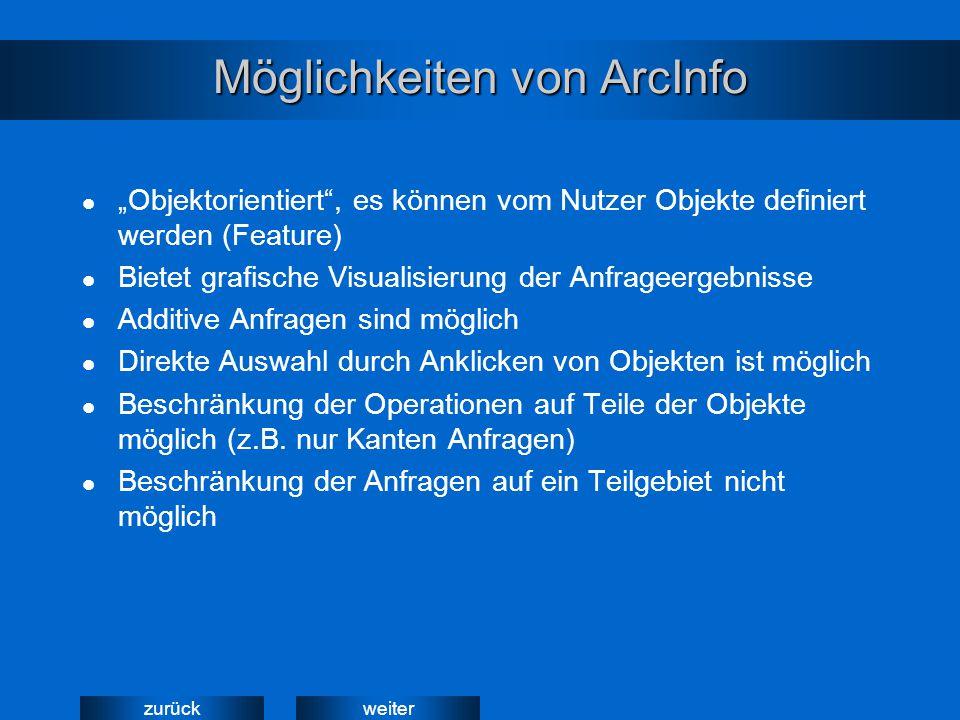 """weiterzurück Möglichkeiten von ArcInfo """"Objektorientiert , es können vom Nutzer Objekte definiert werden (Feature) Bietet grafische Visualisierung der Anfrageergebnisse Additive Anfragen sind möglich Direkte Auswahl durch Anklicken von Objekten ist möglich Beschränkung der Operationen auf Teile der Objekte möglich (z.B."""