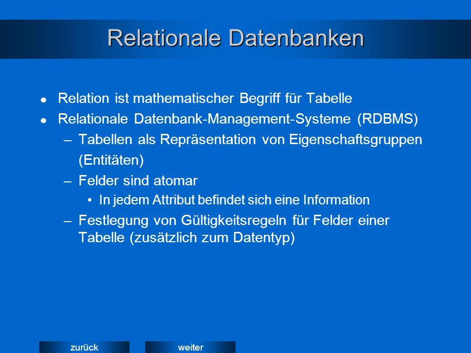 weiterzurück Relationale Datenbanken Relation ist mathematischer Begriff für Tabelle Relationale Datenbank-Management-Systeme (RDBMS) –Tabellen als Re