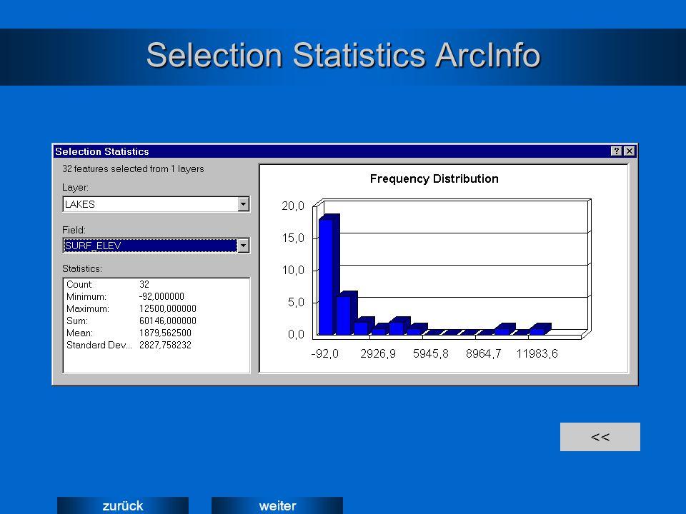 weiterzurück Selection Statistics ArcInfo <<
