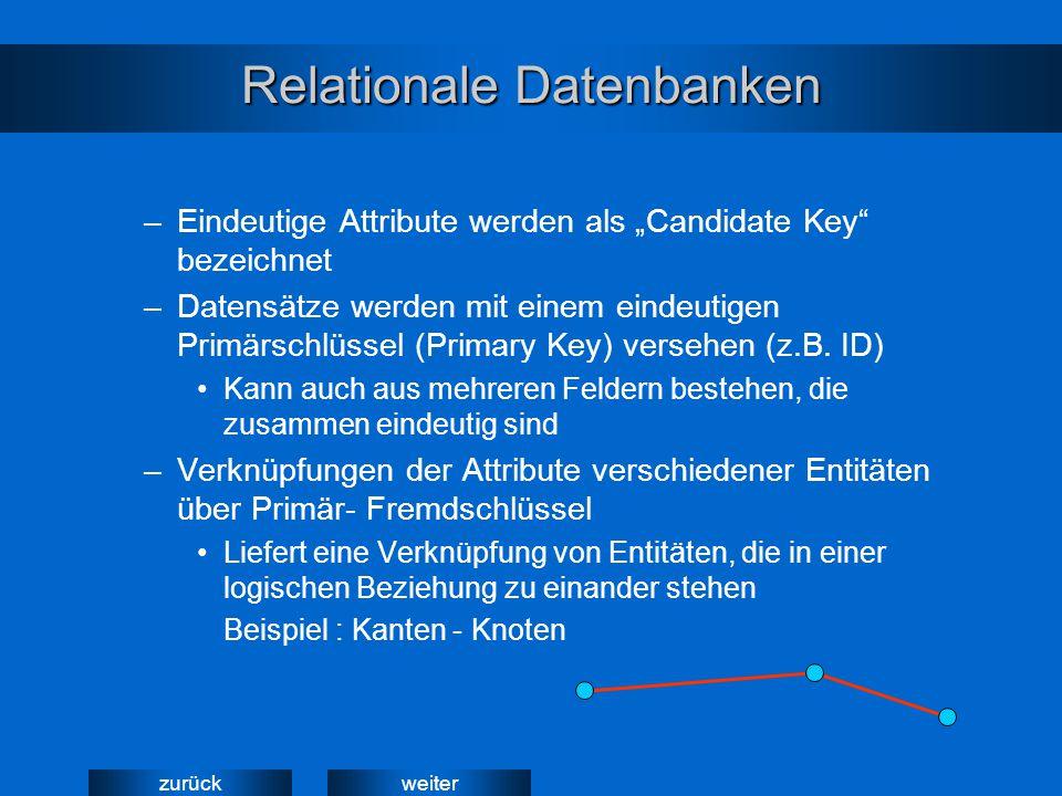 """weiterzurück Relationale Datenbanken –Eindeutige Attribute werden als """"Candidate Key"""" bezeichnet –Datensätze werden mit einem eindeutigen Primärschlüs"""