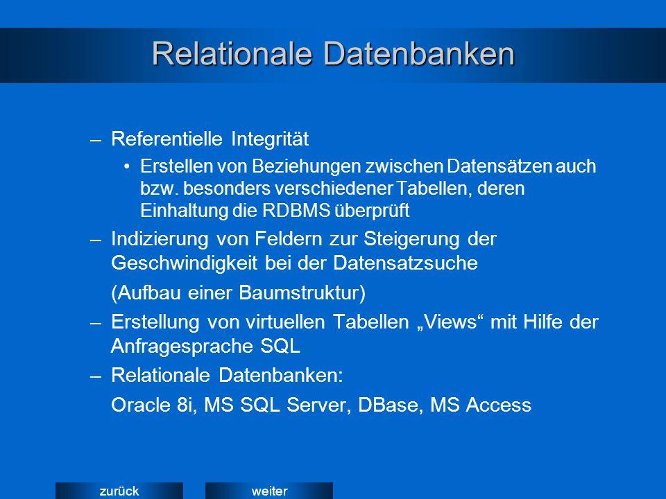 weiterzurück Relationale Datenbanken –Referentielle Integrität Erstellen von Beziehungen zwischen Datensätzen auch bzw. besonders verschiedener Tabell
