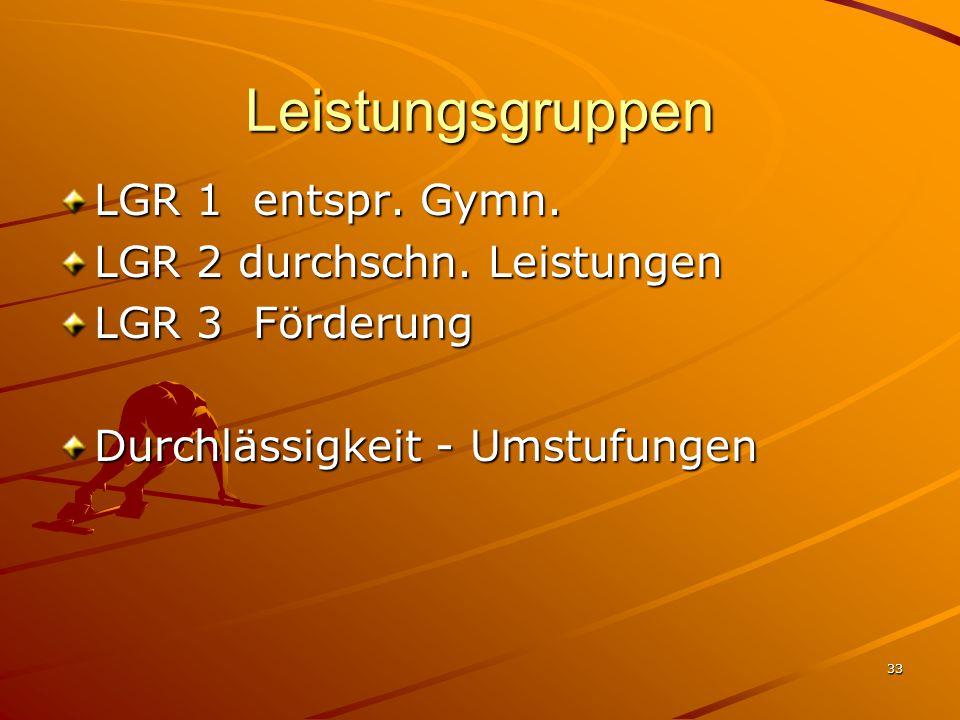 33 Leistungsgruppen LGR 1 entspr. Gymn. LGR 2 durchschn. Leistungen LGR 3 Förderung Durchlässigkeit - Umstufungen