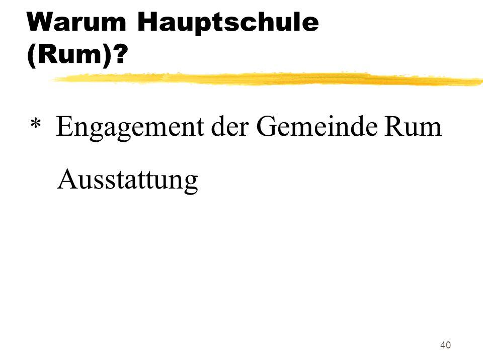 40 Warum Hauptschule (Rum)? * Engagement der Gemeinde Rum Ausstattung