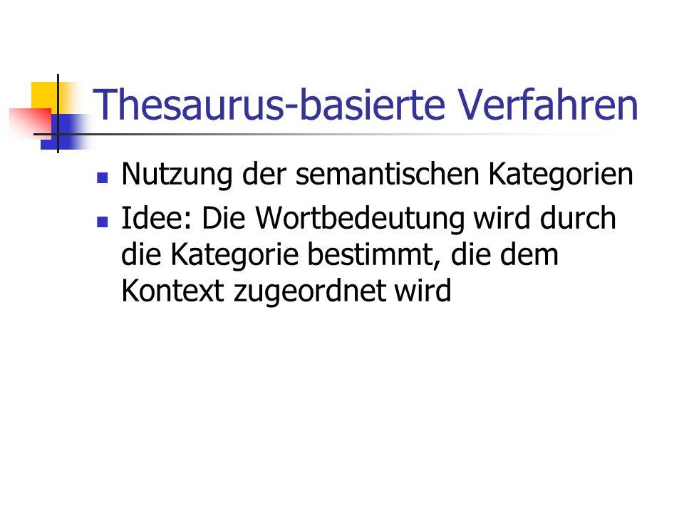 Thesaurus-basierte Verfahren Nutzung der semantischen Kategorien Idee: Die Wortbedeutung wird durch die Kategorie bestimmt, die dem Kontext zugeordnet wird