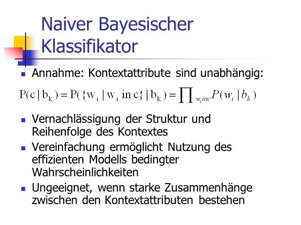 Naiver Bayesischer Klassifikator Annahme: Kontextattribute sind unabhängig: Vernachlässigung der Struktur und Reihenfolge des Kontextes Vereinfachung ermöglicht Nutzung des effizienten Modells bedingter Wahrscheinlichkeiten Ungeeignet, wenn starke Zusammenhänge zwischen den Kontextattributen bestehen