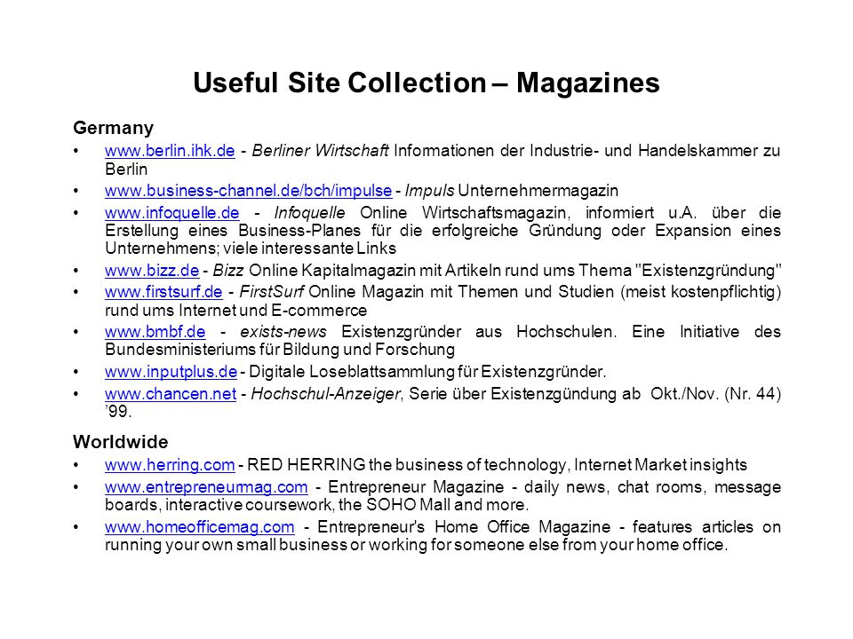 Useful Site Collection – Magazines Germany www.berlin.ihk.de - Berliner Wirtschaft Informationen der Industrie- und Handelskammer zu Berlinwww.berlin.