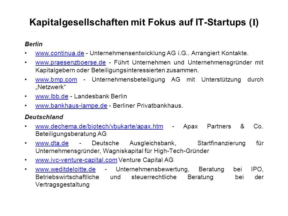 Kapitalgesellschaften mit Fokus auf IT-Startups ( I ) Berlin www.continua.de - Unternehmensentwicklung AG i.G..