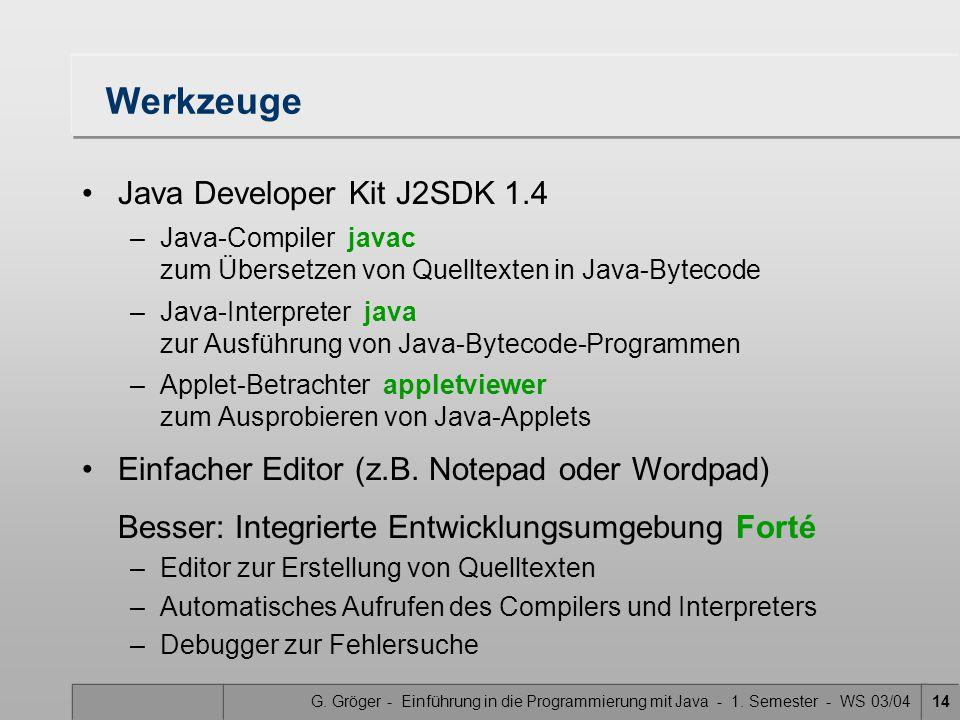 G. Gröger - Einführung in die Programmierung mit Java - 1. Semester - WS 03/0414 Werkzeuge Java Developer Kit J2SDK 1.4 –Java-Compiler javac zum Übers