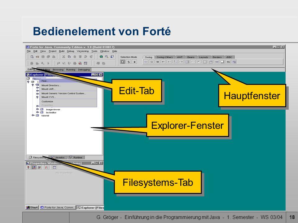 G. Gröger - Einführung in die Programmierung mit Java - 1. Semester - WS 03/0418 Bedienelement von Forté Hauptfenster Edit-Tab Explorer-Fenster Filesy