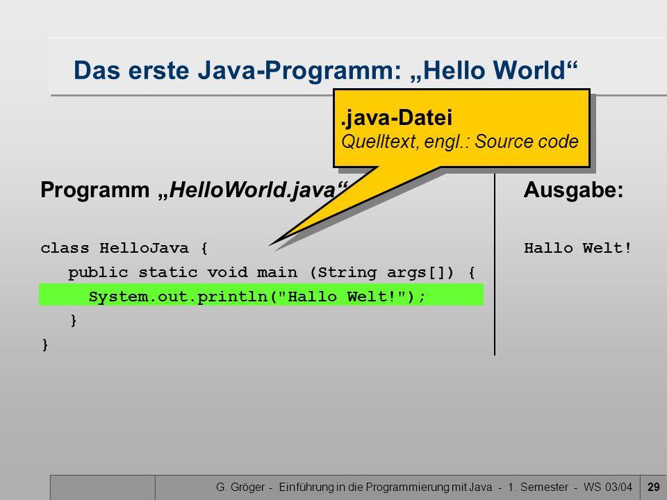"""G. Gröger - Einführung in die Programmierung mit Java - 1. Semester - WS 03/0429 Das erste Java-Programm: """"Hello World"""" Programm """"HelloWorld.java"""" cla"""