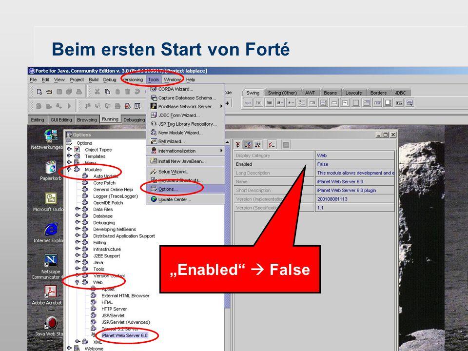 """G. Gröger - Einführung in die Programmierung mit Java - 1. Semester - WS 03/0436 Beim ersten Start von Forté Weiter durch """"Cancel"""", da wir den """"iPlane"""