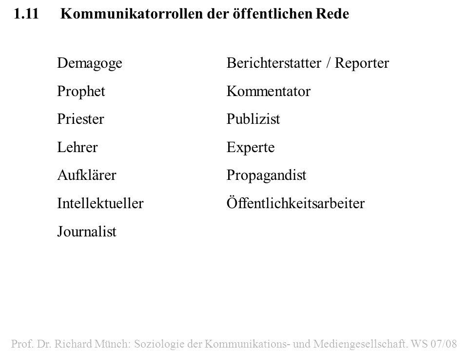 1.11Kommunikatorrollen der öffentlichen Rede Prof. Dr. Richard Münch: Soziologie der Kommunikations- und Mediengesellschaft. WS 07/08 Demagoge Prophet