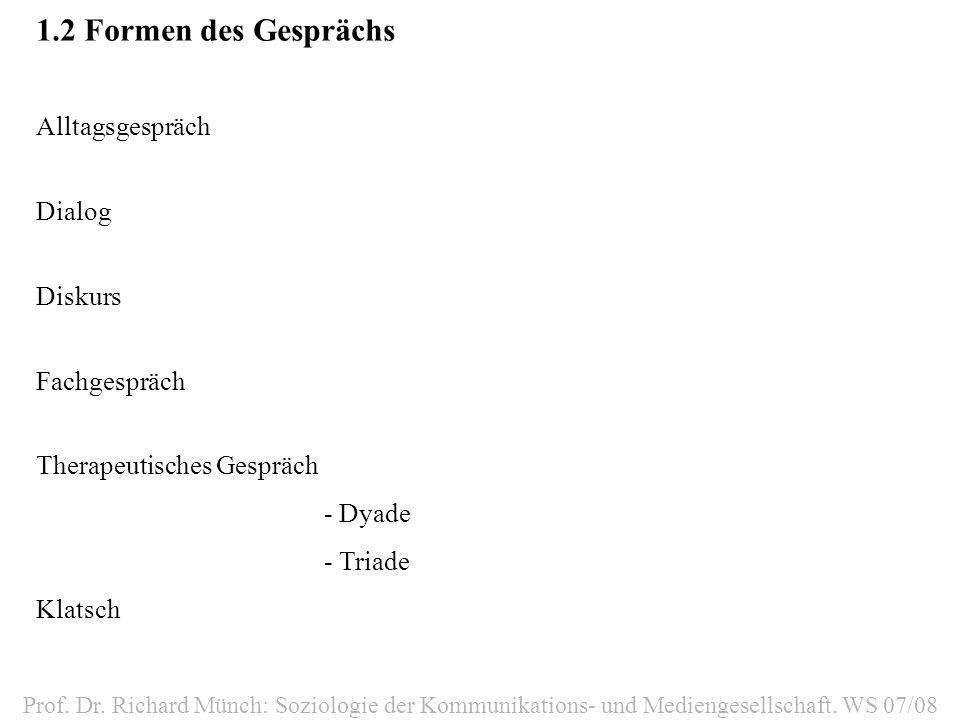 1.2Formen des Gesprächs Alltagsgespräch Dialog Diskurs Fachgespräch Therapeutisches Gespräch - Dyade - Triade Klatsch Prof.