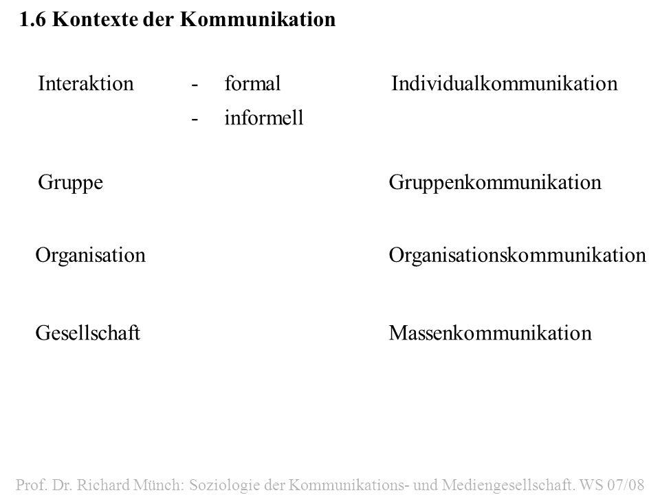 1.6Kontexte der Kommunikation Interaktion-formal -informell Individualkommunikation GruppeGruppenkommunikation OrganisationOrganisationskommunikation