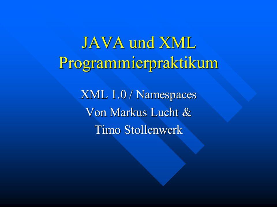 JAVA und XML Programmierpraktikum XML 1.0 / Namespaces Von Markus Lucht & Timo Stollenwerk